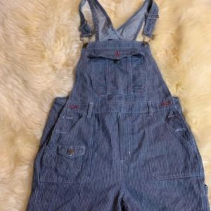 Vintage overall shorts blue stripes s/m